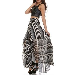 NWT Tov Holy Licorice Stripe Black Maxi Skirt L
